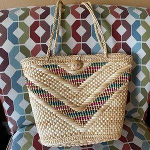 Handbags - Straw and Multicolored Beach Shoulder Tote Bag